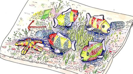 Lynette Talbot's concept drawing of the fish display Sidmouth in Bloom will take to the NEC