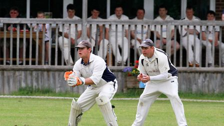 Ottery 2nds wicket keeper Alex Clements against Lewdown. Ref shsp 23-16TI 1585. Picture: Terry Ife