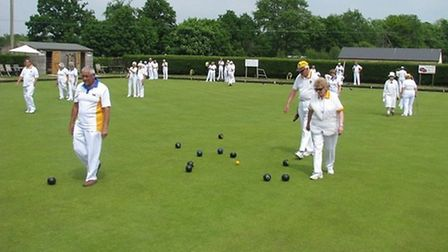 Ottery St Mary bowls action