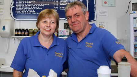 Sarah and Philip Rose of Rosey's Chippy in Ottery. Rosey's has recently reopened after a fire forced