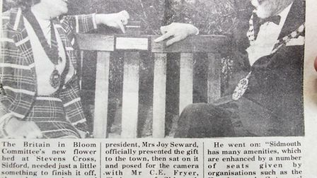 Joy and Jo Seward sat on the newly installed bench at Stevens Cross. Ref shs 21-16AW 7930. Picture: