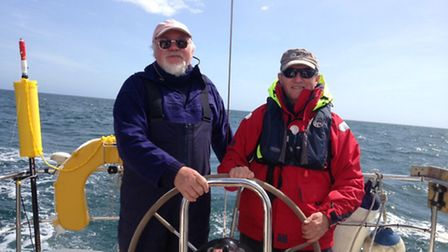 Geoff Pook and Eddie Burrow are sailing around Britain for the next three months.