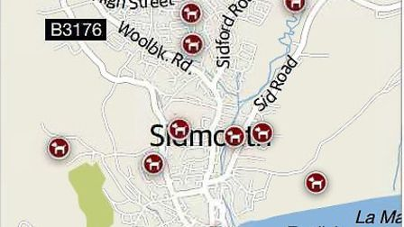 A map of the Sidmouth hot spots for dog mess, (s)