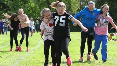 Three legged races at the Sid Vale Athletics meeting on Sunday. Ref shs 21-16SH 5928. Picture: Simon