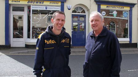Graham Brown with his son Jarrod outside their motorcycle shop in Ottery. Ref sho 16-17TI 9724. Pict