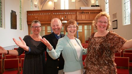 Roger and Susan Trumper with Mary Parkes and Helen Nelhams before their gospel choir evening. Ref sh