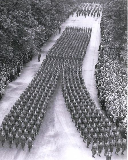 A victory parade in V formation