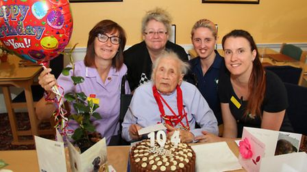 Arcot House resident, Topsy Hindley, celebrates her 104th birthday. Ref shs 21-16AW 8404. Picture: A