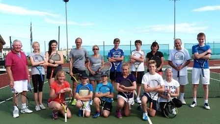 The players that took part in the Sidmouth Tennis Club senior/junior competition