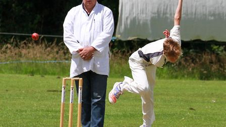 Tom Jeacock bowling for Ottery 2nds at home to Plymstock. Ref shsp 27-16TI 3483. Picture: Terry Ife