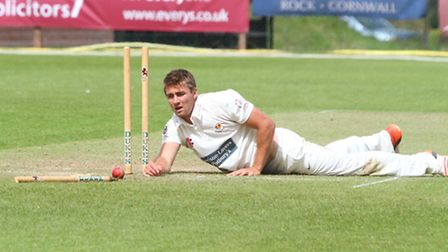 Sidmouth 1sts played Torquay on Saturday. Knocking the stumps. Ref shsp 26-16AW 1528. Picture: Alex
