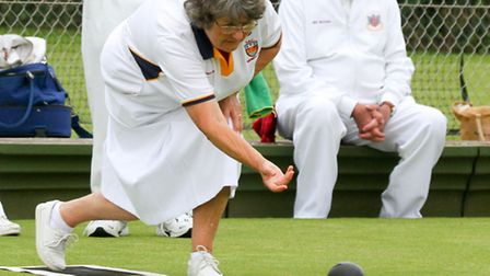 Sidmouth bowling club hosted a tournament at the weekend. Anita Mason bowls for Sidmouth. Ref shsp 2