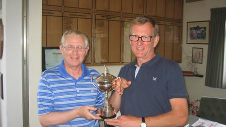 David Woodruff is presented with the Blatchford Trophy after his win at Honiton.