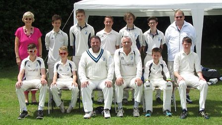 Ottery St Mary 3rd XI Back row (left to right); Kay Dean (scorer), Ethan Glanville, Joe Button, Jake
