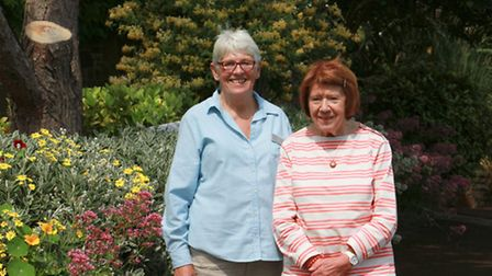Britian In Bloom judge Brenda Wright with Beer Horticultural Socirty's Ursula Makepeace. Ref shb 27-