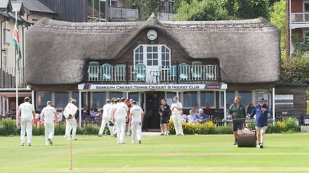 Sidmouth 1sts played Torquay on Saturday. End of the innings. Ref shsp 26-16AW 1583. Picture: Alex W