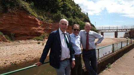 Councillor Stuart Hughes, Hugo Swire MP and Natural England chairman Andrew Sells