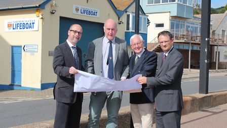 EDDC deputy chief executive, Councillors Stuart Hughes and Jeff Turner, and town clerk Christopher H