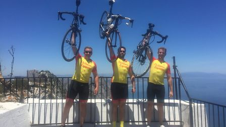 Cyclists Jake Cope, James Salter and Steve Hackett