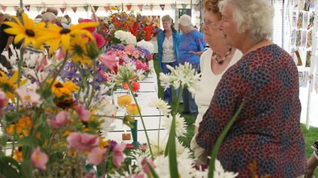 Visitors look over the hundreds of exhibits at the Sid Valley Horticultural Show on Saturday. Photo