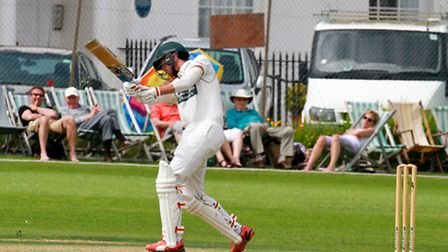 Wesley Holmes batting for Sidmouth 2nds at home to Plymouth. Ref shsp 24-16TI 2121. Picture: Terry I