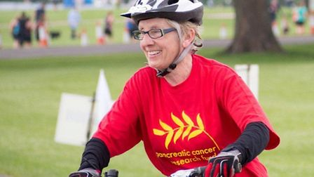 Christine Baker, 75, completed her first triathlon in aid of Pancreatic Cancer Research Fund