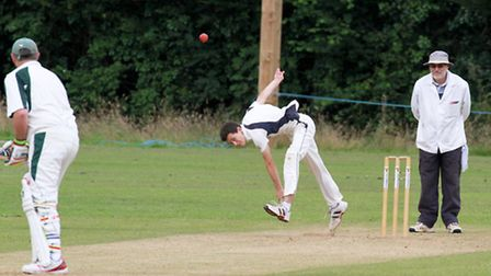 George Southall-Brown bowling for Ottery at home to Hatherleigh. Ref shsp 29-16TI 4261. Picture: Ter