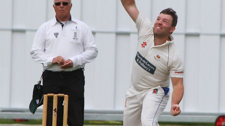 Sidmouth 1sts played Torquay on Saturday. Matt Cooke sends a delivery. Ref shsp 26-16AW 1541. Pictur