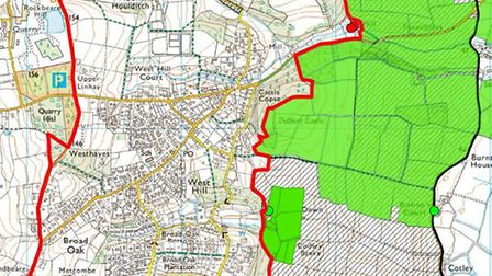 Proposed new West Hill parish council boundary