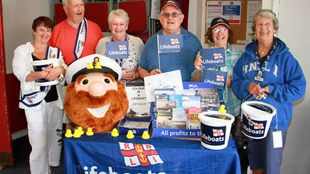 Ian Rangeley, chairman of Seaton and Beer RNLI, with volunteers at the Beer lifeboat week. Ref shb 2