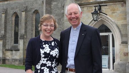 Retiring vicar of All Saints and Salcombe Regis churches Roger Trumper with his wife Susan. Ref shs