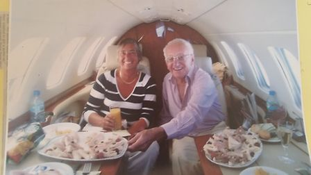 Tony and Marilyn Barlow flying back from Tenerife on a private jet