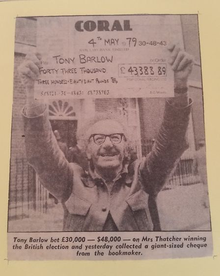 Tony Barlow with his winnings from his £30,000 bet on Margaret Thatcher winning the general election