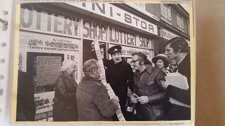 Tony meeting Blakey from 'On the Buses' for his bumper lottery ticket sales