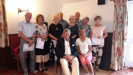 From left to right, volunteers receiving their awards, Cliff Jones, Sue Dorey, Patricia Palmer, Diet
