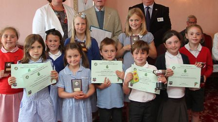 Local school children were presented with their prizes and awards by Lady Cave this week in the scho