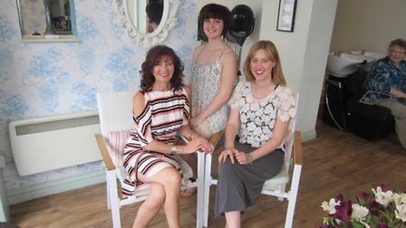 Catherine Cochrane, Sarah Pottinger and Zoe Baker of Lexys hair salon in Sidford - Zoe is the new ow