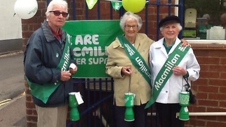 Macmillan volunteers at a street collection in Sidmouth on Saturday.