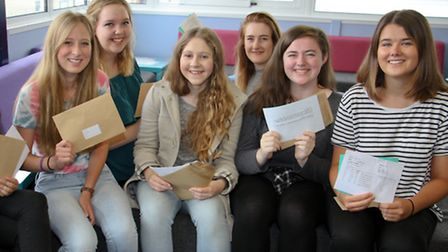 Opening their A level results at Sidmouth College. Ref shs 33-16TI 6157. Picture: Terry Ife