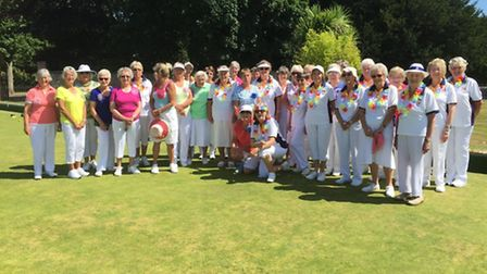 The ladies who turned out for a wonderful 2016 Ladies' Captain's Day event at Sidmouth Bowls Club
