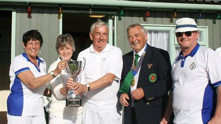 Shirley Fewtrell with the Marldon Open 4s Trophy. Also in the picture are Roger Woodland together wi