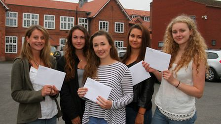 Kings School students received their A-level results. Harriet Dicks, Amber Gardner, Emily Howell, An