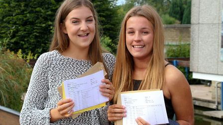Students from Sidmouth College received their GCSE results. Connie Champain and Charlotte Bond are a