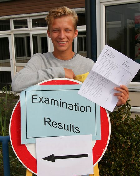 Students from Sidmouth College received their GCSE results. Oliver Jarrett scores high with his exam