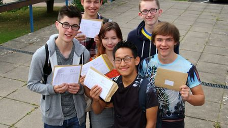 Students from Sidmouth College received their GCSE results. Ref shs 34-16AW 4576. Picture: Alex Walt