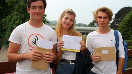 Students from Sidmouth College received their GCSE results. Oli Perez, Lucy Scrivens and Jordi Chapm