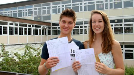 Students from Sidmouth College received their GCSE results. Sam Laurenti and Emily Dawkins are pleas