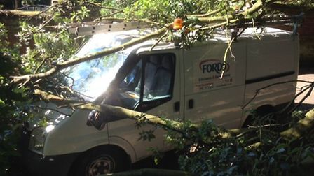 Hugh Butler of Fords had 'lucky escape' when tree fell on his van