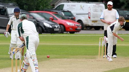 Luke Tierney bowling for Ottery at home to Hatherleigh. Ref shsp 29-16TI 4288. Picture: Terry Ife