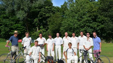 Sidbury cricketers with the new square cutter purchased after a superb effort at fund raising that i